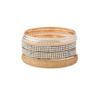 Textured & Embellished Bangle Bracelets - 7 Pack