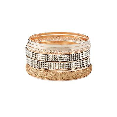 Textured & Embellished Bangle Bracelets - 7 Pack