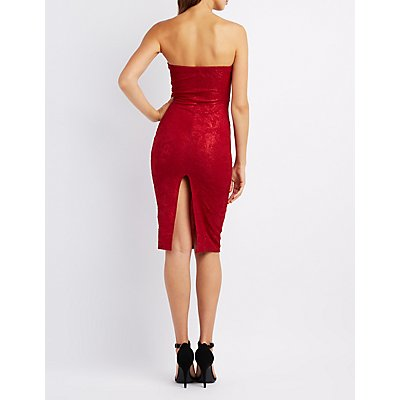 Textured Strapless Midi Dress