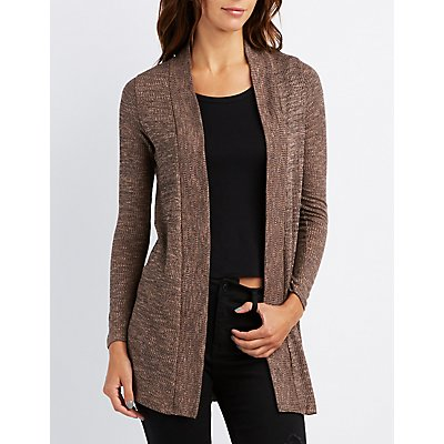 Ribbed Longline Shawl Cardigan