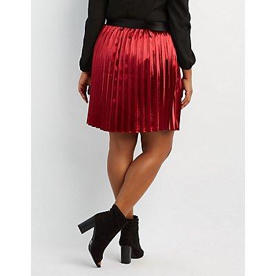 Plus Size Shimmer Pleated Midi Skirt