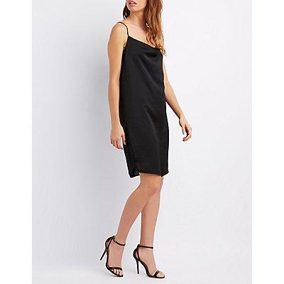 Draped Lace-Trim Slip Dress