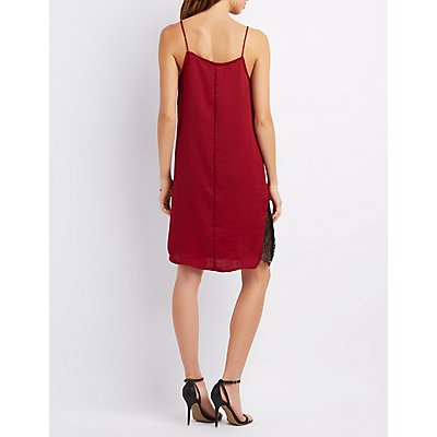 Draped Lace-Trim Slip Dress