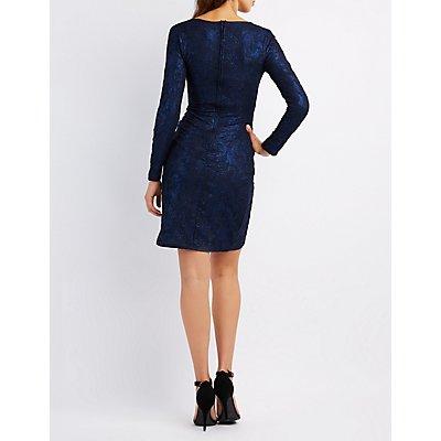 Brocade Bodycon Wrap Dress
