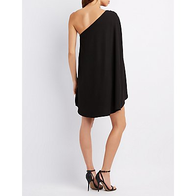One-Shoulder Cape Dress