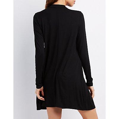 Mock Neck Long Sleeve Swing Dress
