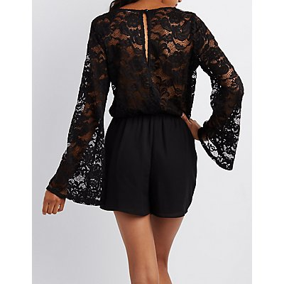 Lace-Trim Bell Sleeve Romper