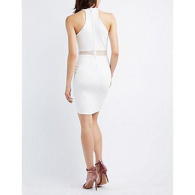 Lattice Mesh-Trim Bodycon Dress
