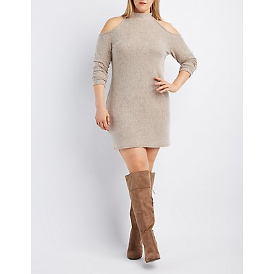 Plus Size Fuzzy Knit Cold Shoulder Dress