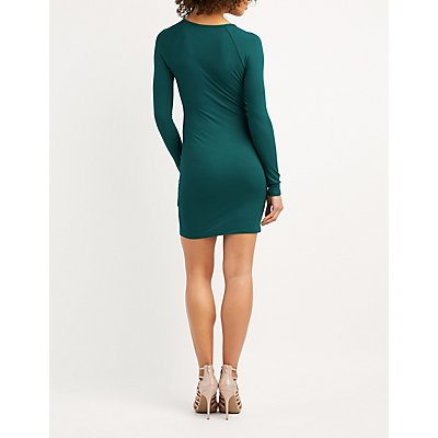 Ribbed Lattice-Front Bodycon Dress
