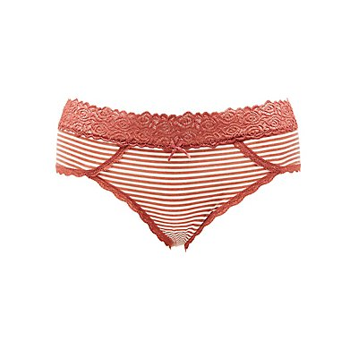 Plus Size Striped Lace-Trim Hipster Panties