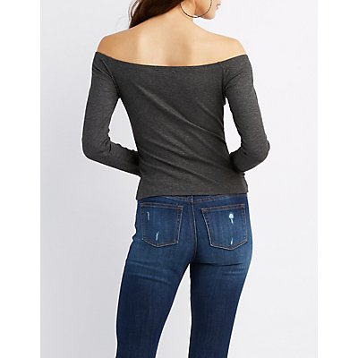 Ribbed Off-The-Shoulder Fitted Top