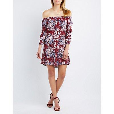 Floral Off-The-Shoulder Button-Up Dress
