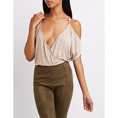 Cold Shoulder Surplice Bodysuit