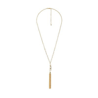 Pearl Bead & Chainlink Tassel Drop Necklace