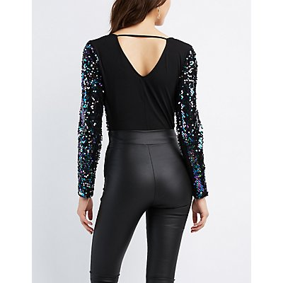 Sequin Bodice V-Neck Bodysuit