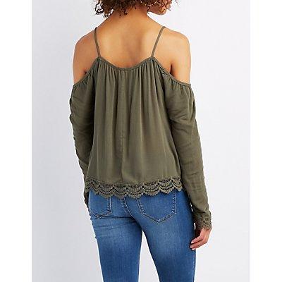 Crochet-Trim Cold Shoulder Top