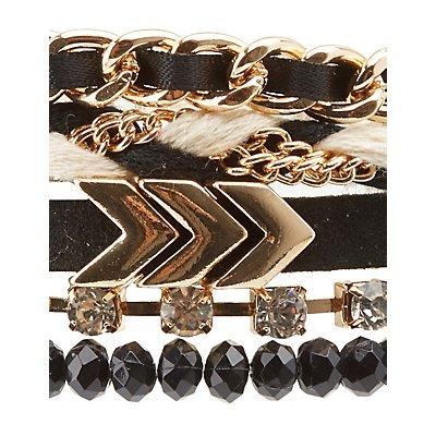 Beaded, Chainlink & Rhinestone Layering Bracelets - 5 Pack