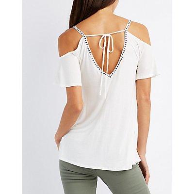 Embroidered-Trim Cold Shoulder Top