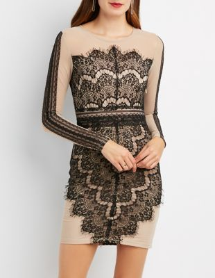 Charlotte russe contrast lined mesh and lace dress