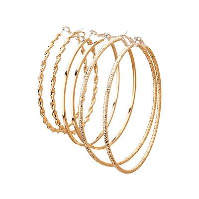 Metal Hoop Earrings - 3 Pack