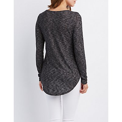 Marled Scoop Neck Tunic Top