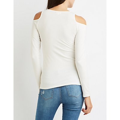 Cold Shoulder Fitted Tee