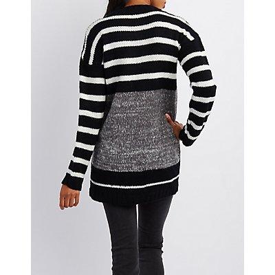 Marled & Striped Crew Neck Sweater