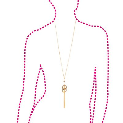 Embellished Chainlink Tassel Drop Necklace