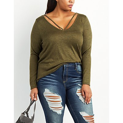 Plus Size Strappy Marled Tee
