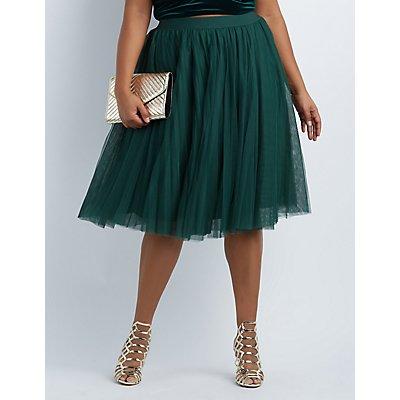 Plus Size Tulle Midi Skirt