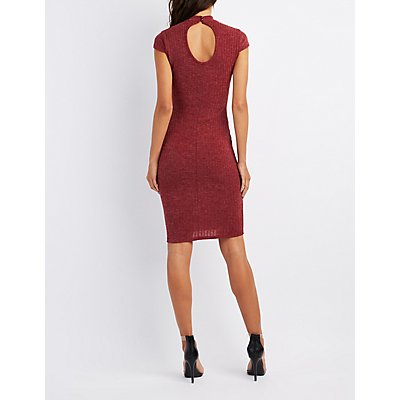 Ribbed Mock Neck Bodycon Midi Dress