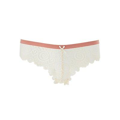 Scalloped Lace Thong Panties
