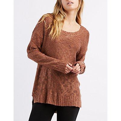 Slub Knit Scoop Neck Sweater