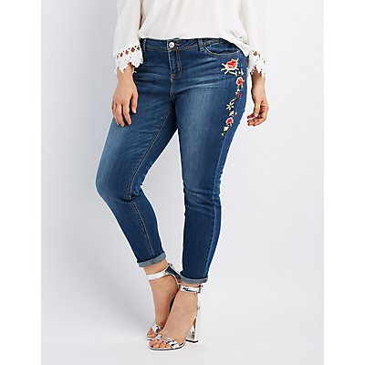 Plus Size Embroidered Skinny Jeans