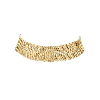 Metallic Mesh Choker Necklace