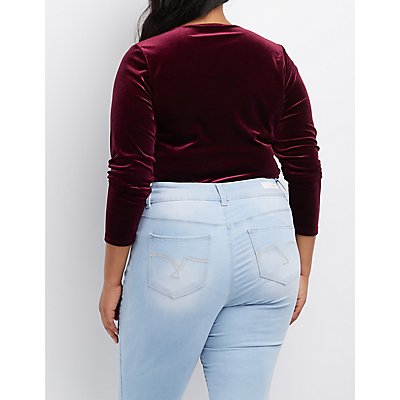 Plus Size Velvet Caged-Front Bodysuit