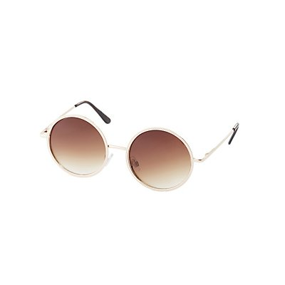 Etched Metal Round Sunglasses