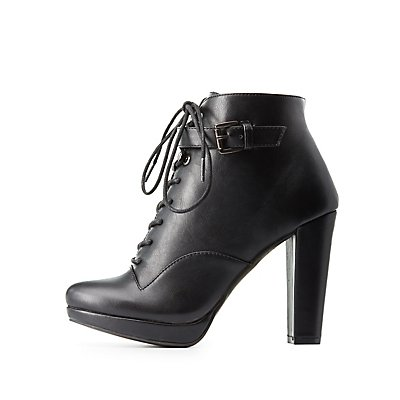 Buckled Lace-Up Combat Booties