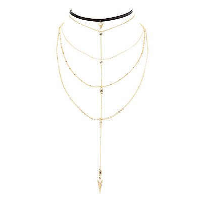 Faux Leather Choker & Layered Y Necklace - 2 Pack