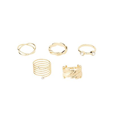 Plus Size Statement Rings - 5 Pack