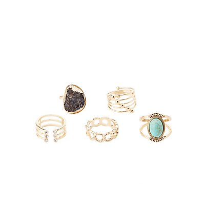 Plus Size Embellished Cocktail Rings - 5 Pack