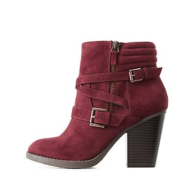 Wrapped Double-Buckle Ankle Booties