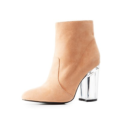Qupid Lucite Heel Dress Booties