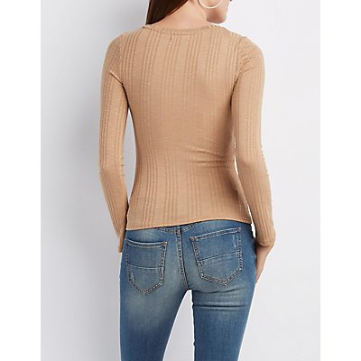 Ribbed Crew Neck Top