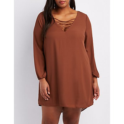 Plus Size Lattice Shift Dress