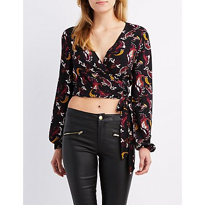 Paisley Wrapped Crop Top