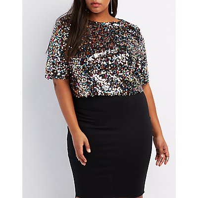 plus size sequin boxy crop top | charlotte russe