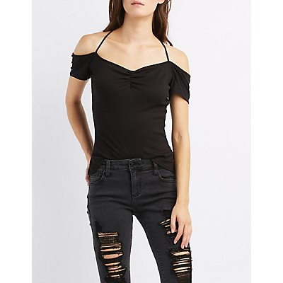 Ribbed Cold Shoulder Tied Tee