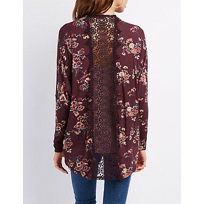 Crochet-Back Floral Knit Cardigan